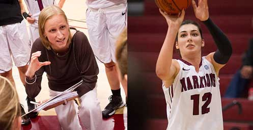 NAIA Coach of the Year Kirsten Moore and NAIA Player of the Year Tugce Canitez of Westmont