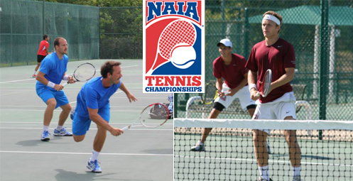 Vanguard (left) and Westmont (right) advanced to the semifinals of the NAIA Men's Tennis National Championship