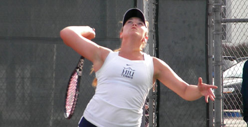 Sabrina-Lee MIller completed an impressive singles comeback to give the Royals an upset win (Photo by HIU Sports Information)