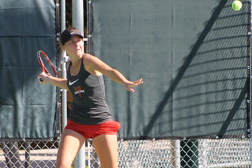 Iulia Marcenco in action in Friday's opener (Photo by Ben Clark)