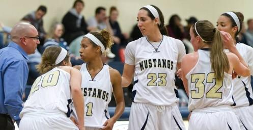 Jacquelyn Marshall (23) led the Mustangs with 20 points and 18 rebounds.