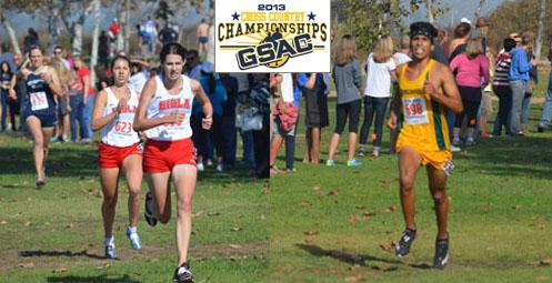 GSAC Individual Champions Kellian Hunt of Biola (front left) and Joshua Gomez of Concordia (right).