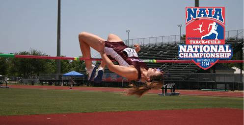 Becky Collier, of Westmont, finished first in the high jump of the heptathlon.