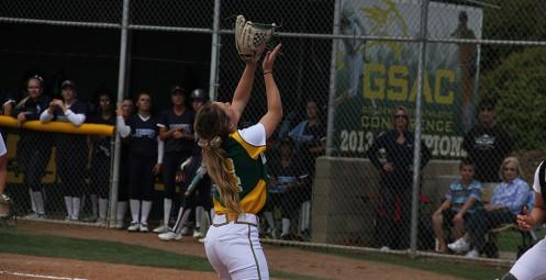 Hannah Howell lines up a fly ball in game one (3/22)