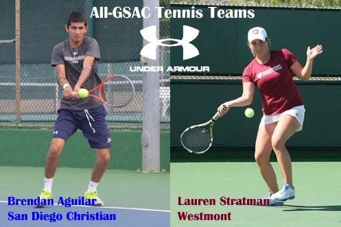 Brendan Aguilar, GSAC Men's Tennis Player of the Year and Lauren Stratman, GSAC Women's Tennis Player of the Year